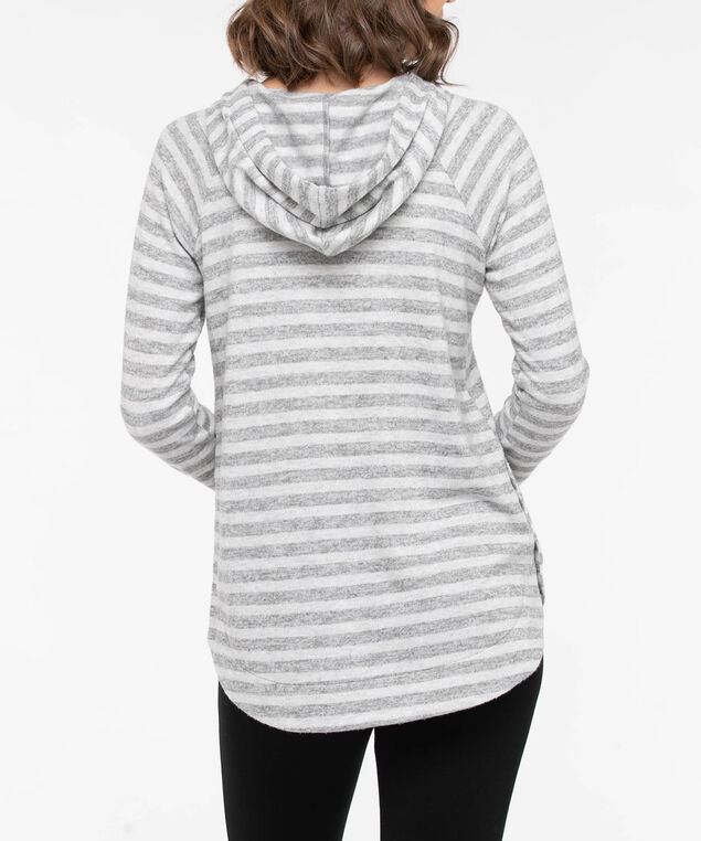 Striped Button Detail Hoodie, Mid Heather Grey/Light Heather Grey, hi-res