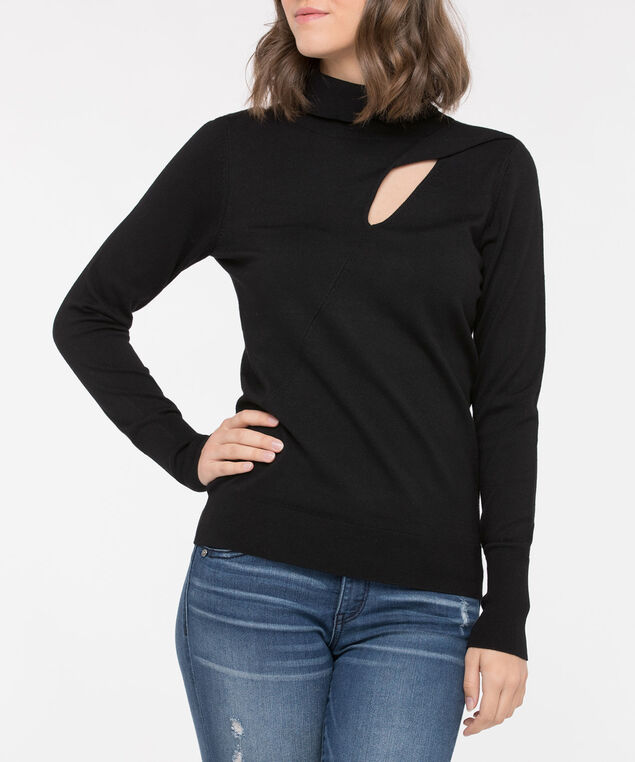 Twisted Slit Detail Black Turtleneck, Black, hi-res