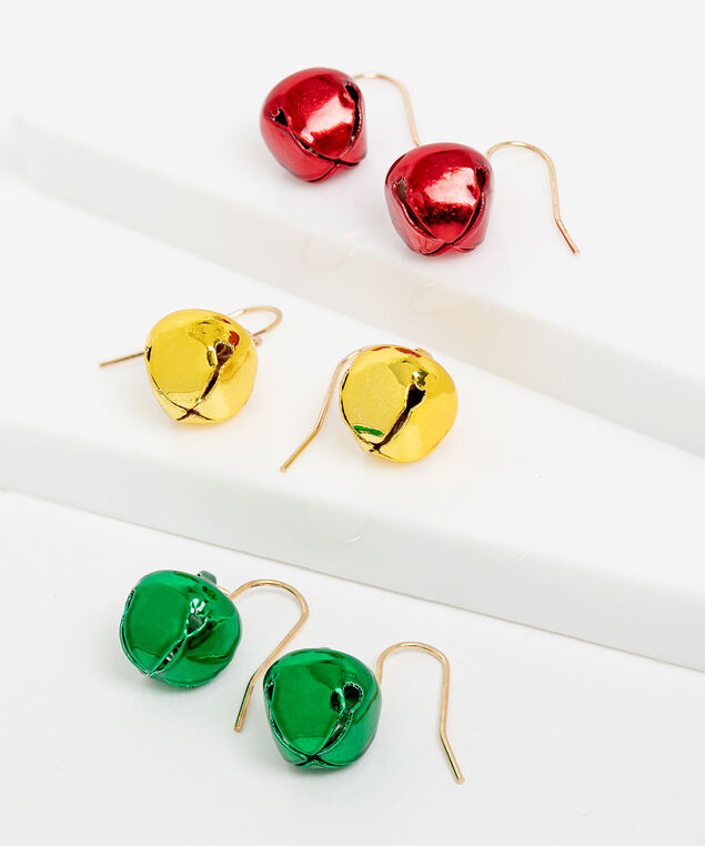 Jingle Bell Earring 3-Pack, Gold/Green/Red