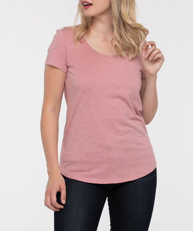 Short Sleeve Scoop Neck Tee, Dusty Pink, hi-res