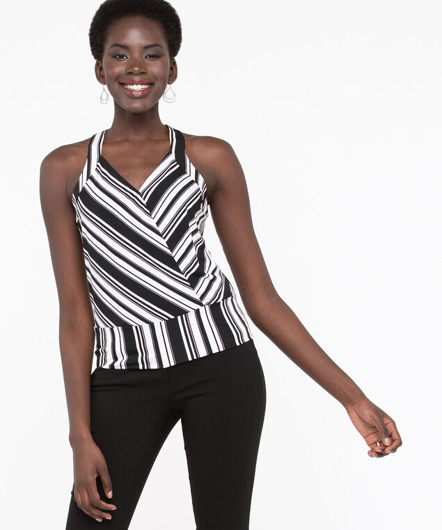 Sleeveless Crossover Banded Hem Top, Black/Pearl, hi-res