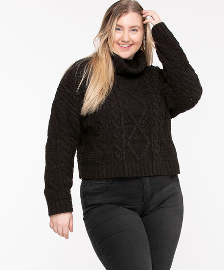 Cable Knit Cowl Neck Sweater, Black, hi-res