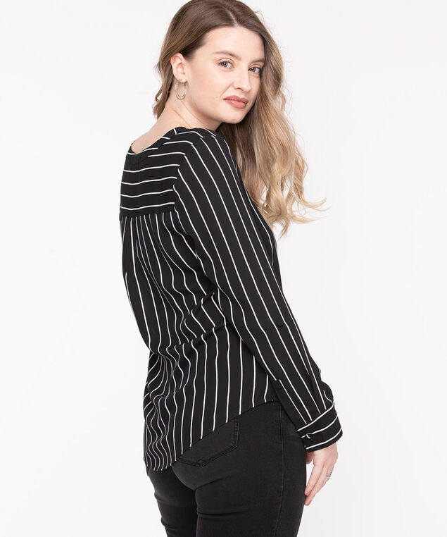 Roll Tab Sleeve V-Neck Blouse, Black/Pearl Stripe
