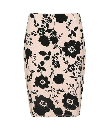 Floral Pencil Skirt, Pink/Black, hi-res