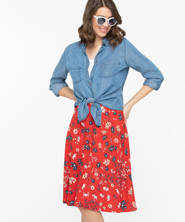 Floral Crepe A-Line Skirt, Hibiscus/Stone/Summer Navy, hi-res