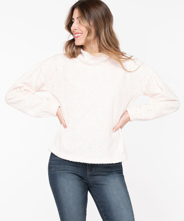 Plush Mock Neck Pullover, Pristine/Peach Pink, hi-res
