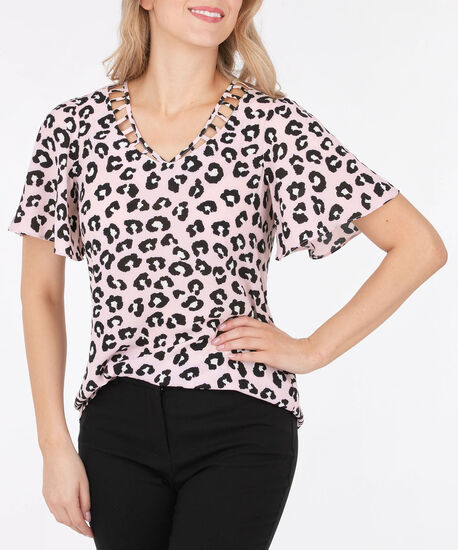 Ladder Trim Animal Print Blouse, Cameo Pink/Black, hi-res