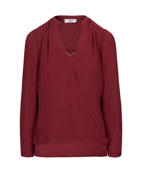 Long Sleeve Wrap Blouse, Ruby, hi-res