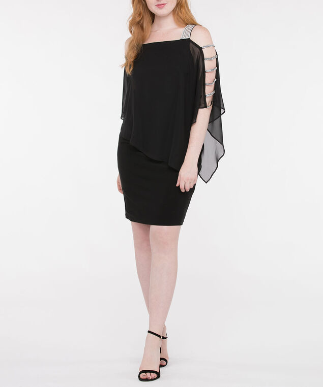 Crystal Trim Cape Overlay Dress, Black, hi-res
