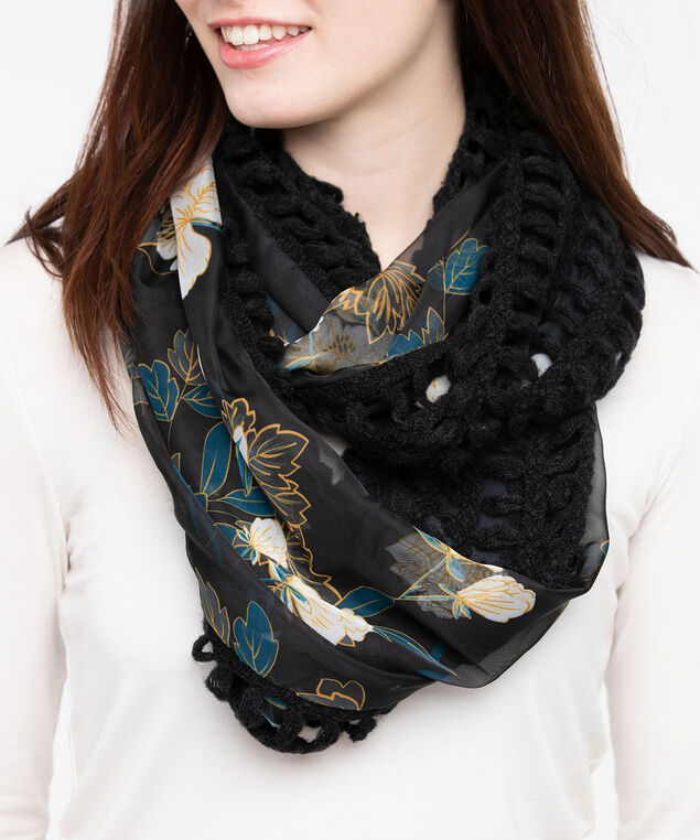 Knit & Woven Floral Eternity Scarf, Black/Steel Blue/Marigold, hi-res