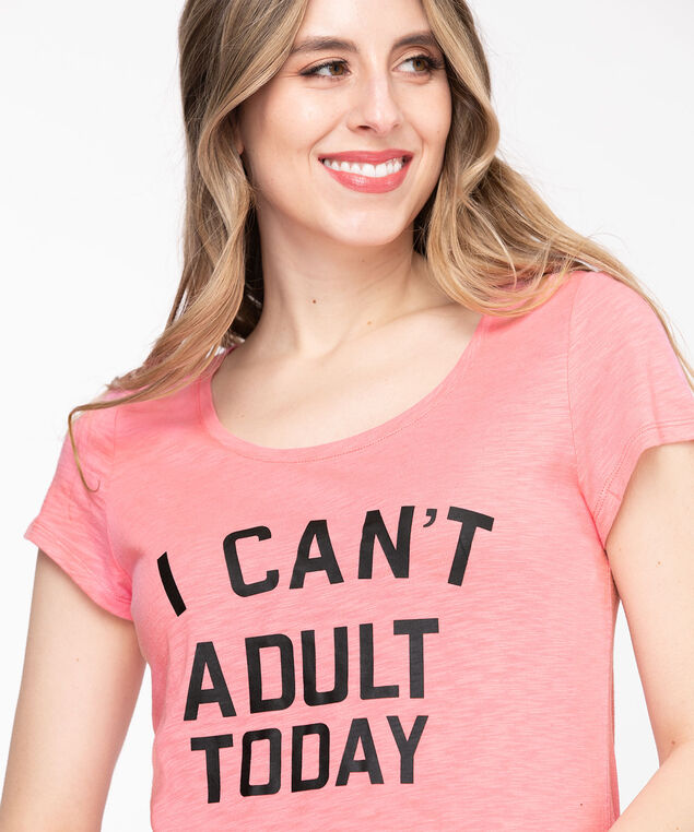 Scoop Neck Shirttail Graphic Tee, Peony/Can't Adult