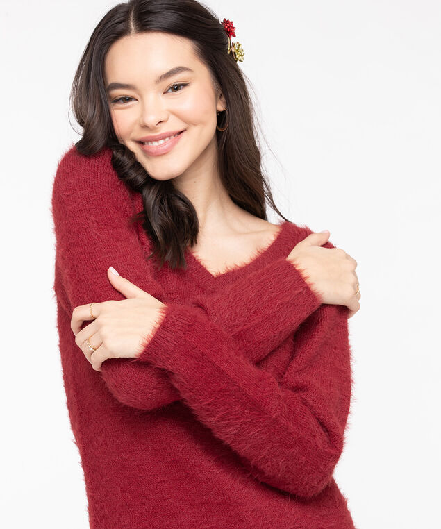 V-Neck Feather Yarn Pullover, Chili Pepper, hi-res