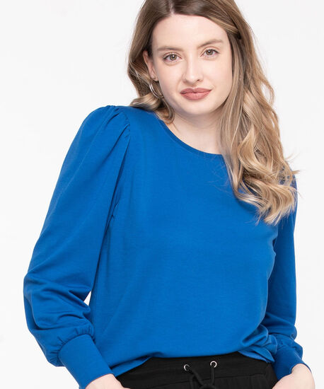 Puff Sleeve Pullover Knit Top, Classic Blue, hi-res