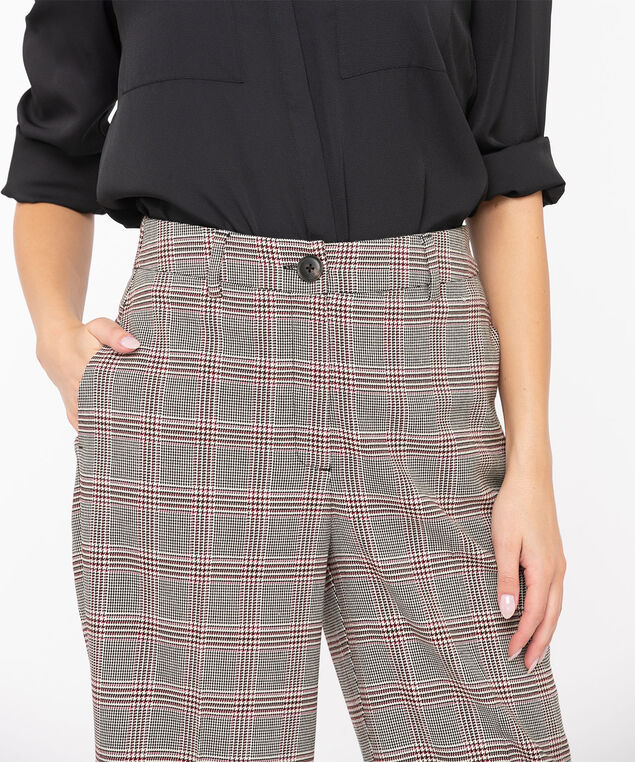 Plaid Wide Leg Crop Pant, Black/Ivory/Pink, hi-res