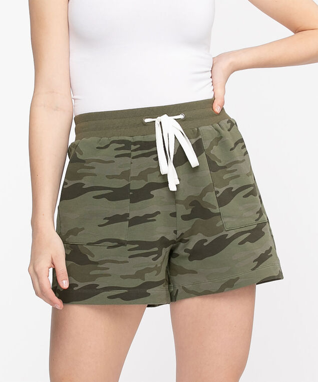 French Terry Pocket Short, Olive Camo