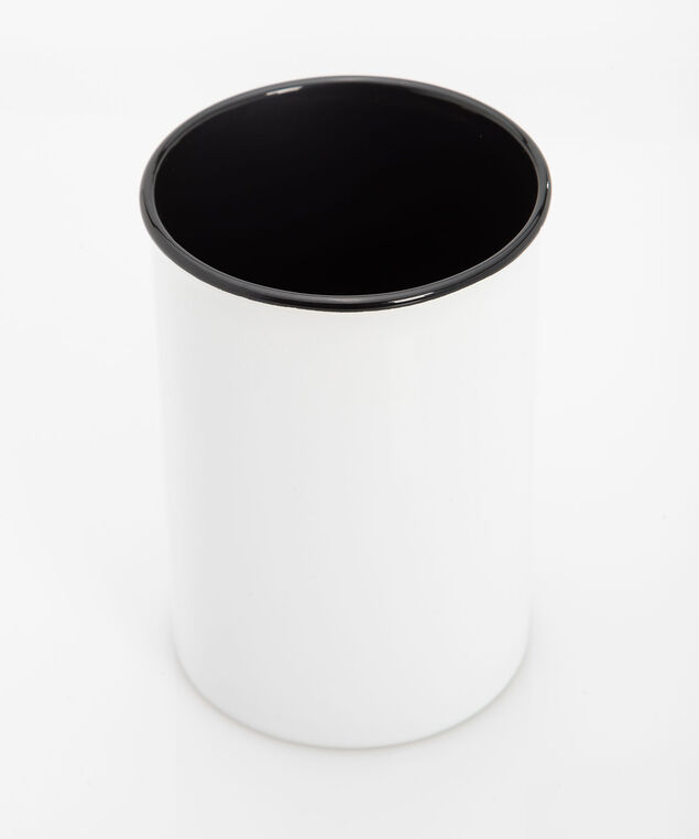 Good Morning Ceramic Brush Holder, Pearl/Black/Rose Gold, hi-res