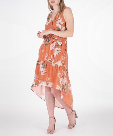 Sleeveless Floral High-Low Dress, Marigold/Green/Ivory, hi-res