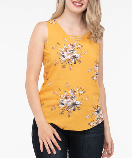 Sleeveless V-Neck Ladder Trim Top, Marigold/Pearl/Grey, hi-res