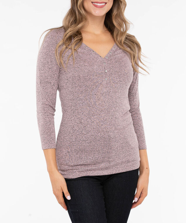 Studded Henley Knit Top, Dusty Blush, hi-res