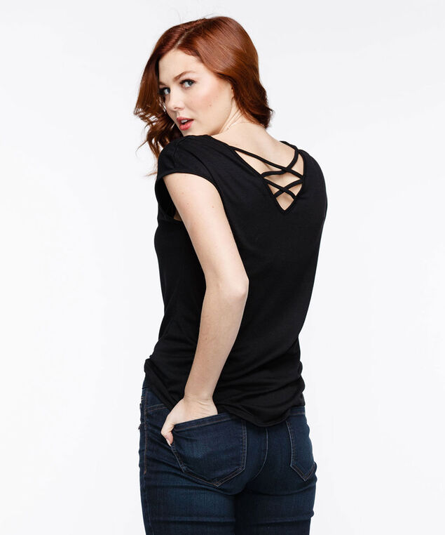 Cross Back Extended Sleeve Top, Black, hi-res
