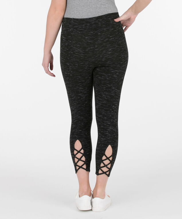 Space-Dye Cotton Crop Legging, Black/White, hi-res