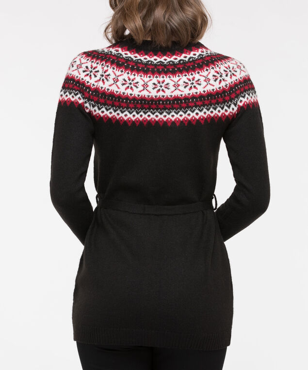 Fair Isle Pullover Tunic Sweater, Black/Crimson/Pearl, hi-res