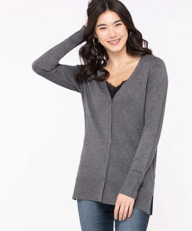 Button Front V-Neck Cardigan, Grey