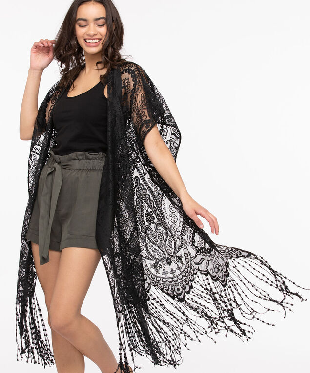 Lace & Fringe Ruana, Black, hi-res