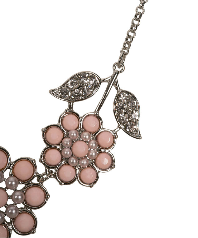 FLORAL STATEMENT NECKLACE, Pastel Pink/Rhodium, hi-res