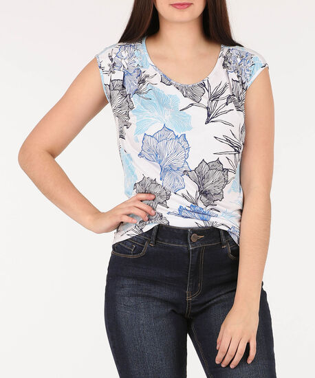 Pleated Cross-Lace Detail Top, White/Blue, hi-res