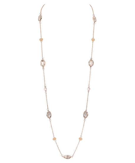 Stationed Faceted Stone Necklace, Blush/Soft Gold, hi-res
