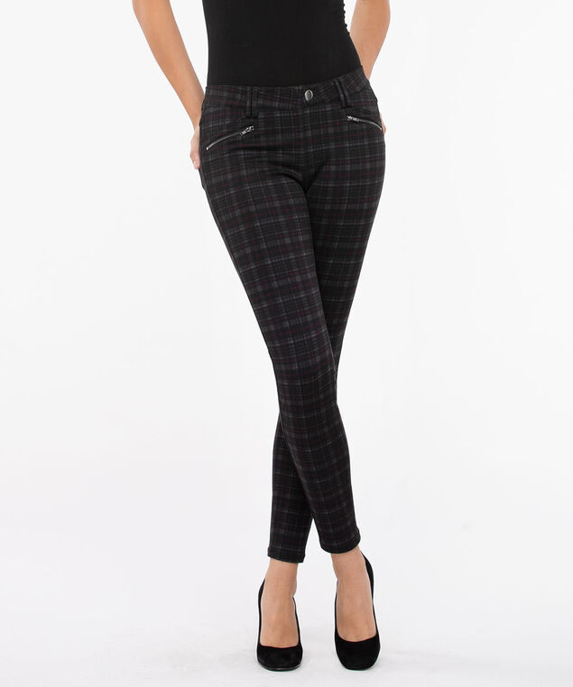 Luxe Ponte Button Front Skinny Leg, Charcoal/Burgundy, hi-res