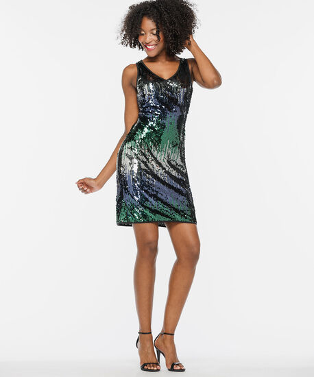 Double-V Sequin Sheath Dress, Ivy/Deep Sapphire/Black, hi-res