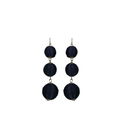 Thread Wrapped Ball Drop Earring, Navy/Rhodium, hi-res