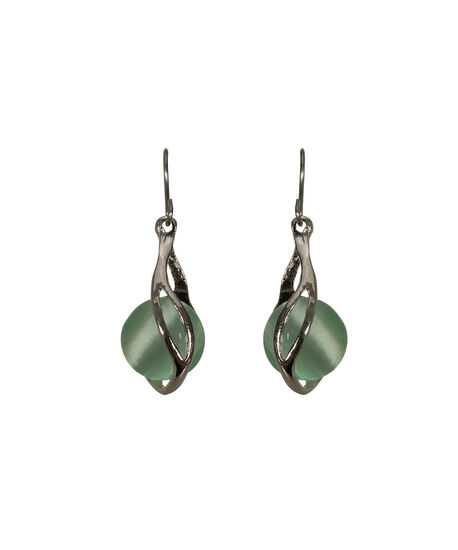 Swirl Wrapped Cateye Earring, Mint/Rhodium, hi-res