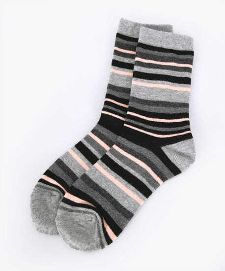 Stripe Pattern Socks, Petal Pink/Grey/Black, hi-res