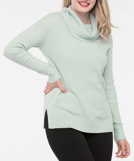 Asymmetrical Ribbed Cowl Neck Sweater, Seafoam, hi-res