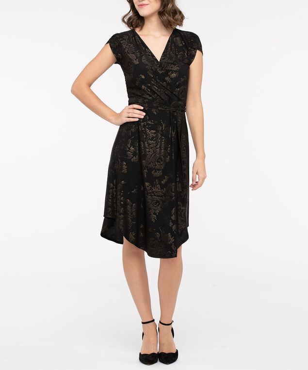 Tulip Hem Wrap Front Dress, Black/Gold, hi-res