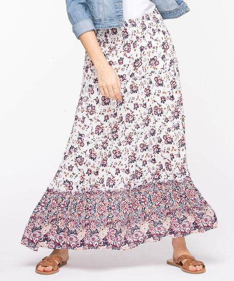 Floral Tiered Maxi Skirt, Pearl/Paprika/Summer Navy/Cayenne, hi-res