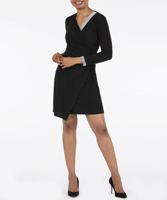 Crystal Trim Long Sleeve Wrap Dress, Black, hi-res