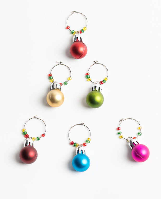 Christmas Ball Wine Charms, Red/Gold/Pink/Blue/Green