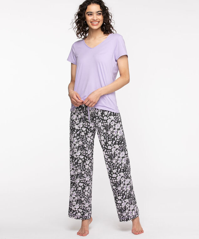 Short Sleeve Long Pant Pajama Set, Purple Pattern