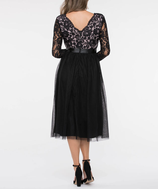 Long Sleeve Lace & Tulle Overlay Dress, Black/Soft Pink, hi-res