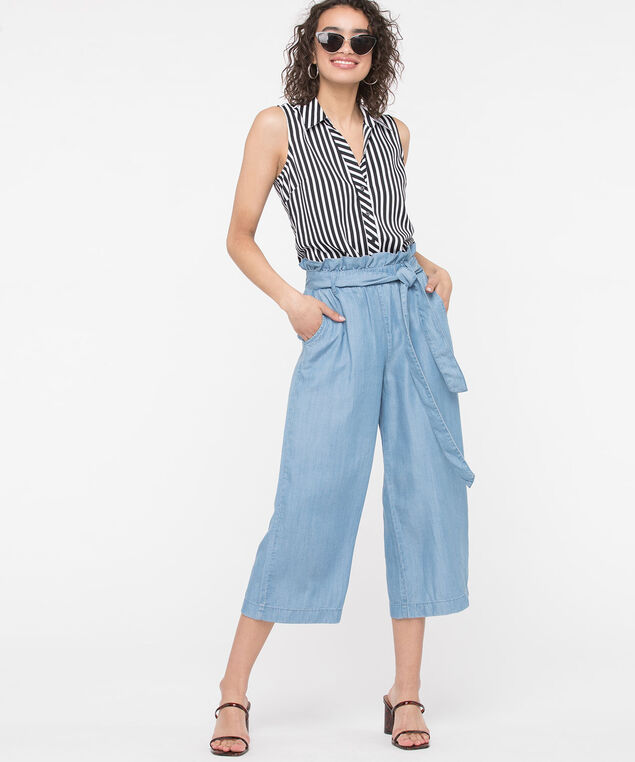 Tencel Paperbag Waist Crop Pant, Light Wash, hi-res
