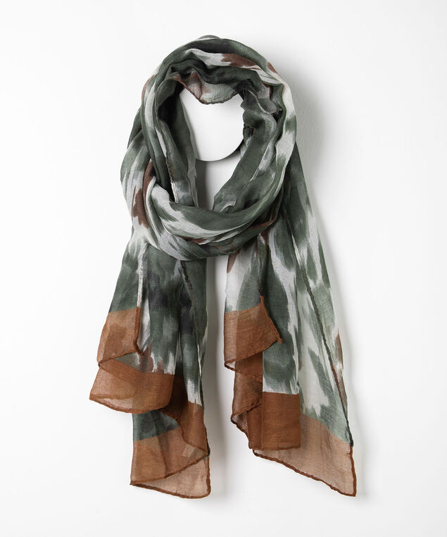 Subtle Floral Print Oblong Scarf, Basil/Almond/Brown, hi-res