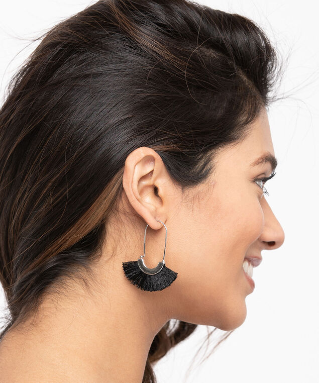 Oblong Tassel Fan Earring, Black/Rhodium, hi-res