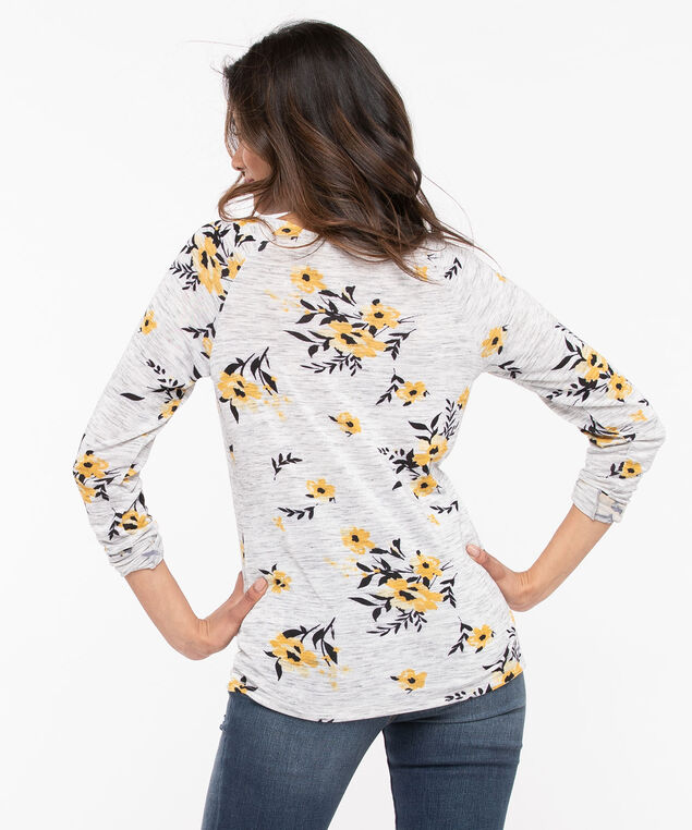 Floral Lightweight Knit Pullover, Light Heather Grey/Gold/Black, hi-res