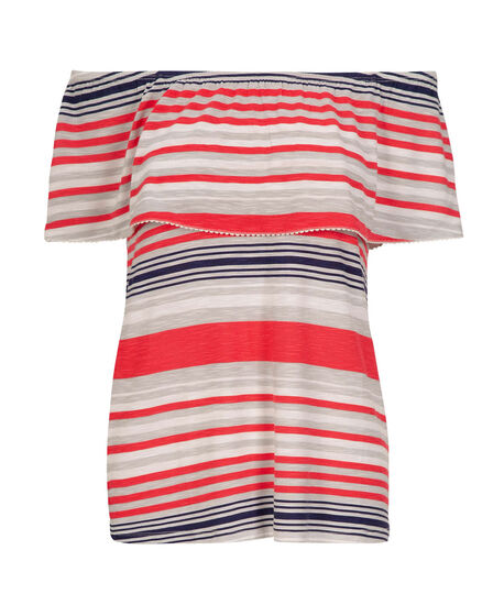 On-Off Shoulder Stripe Top, Coral/Milkshake/Navy, hi-res