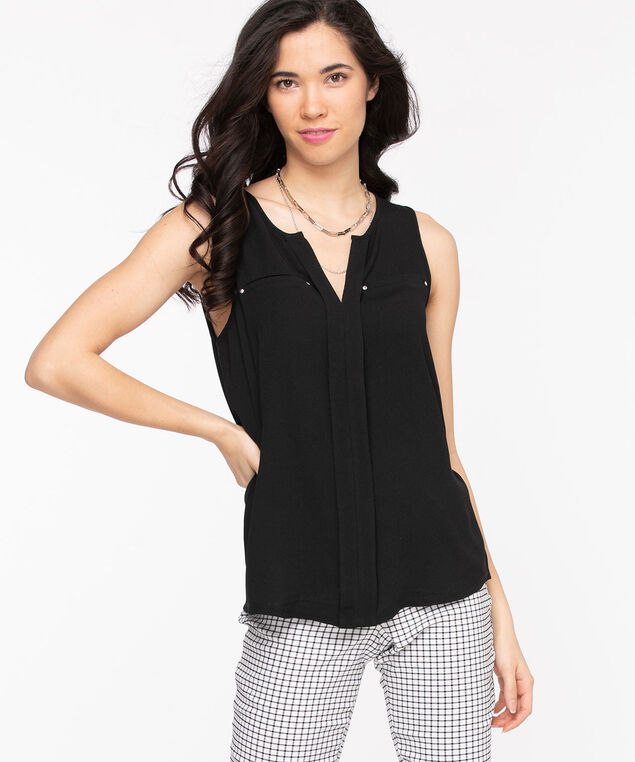 Sleeveless Mixed Media Top, Black