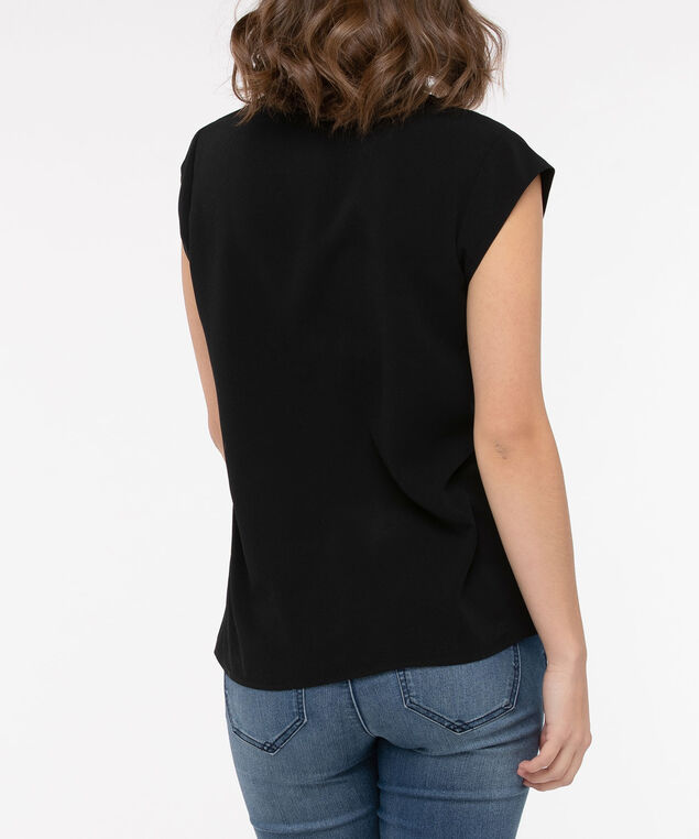 Extended Sleeve Tie-Neck Blouse, Black, hi-res